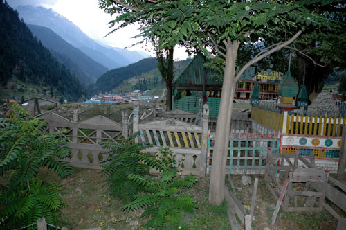Graves in the upper part of central town of Kalam, Swat Valley, Pakistan, 12 August 2006, photograph by Gordon Brent Ingram