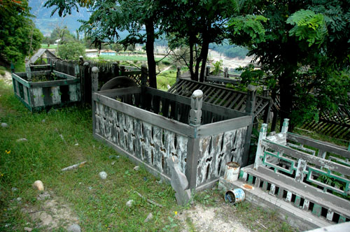 Graves in upper part of the village of Kalam, upper Swat Valley, North-West Frontier Province, 12 August, 2006, photograph by Gordon Brent Ingram