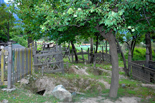 Graves in the upper part of the village of Kalam, upper Swat Valley, North-West Frontier Province, Pakistan, 12 August 2006 photogragh by Gordon Brent Ingram