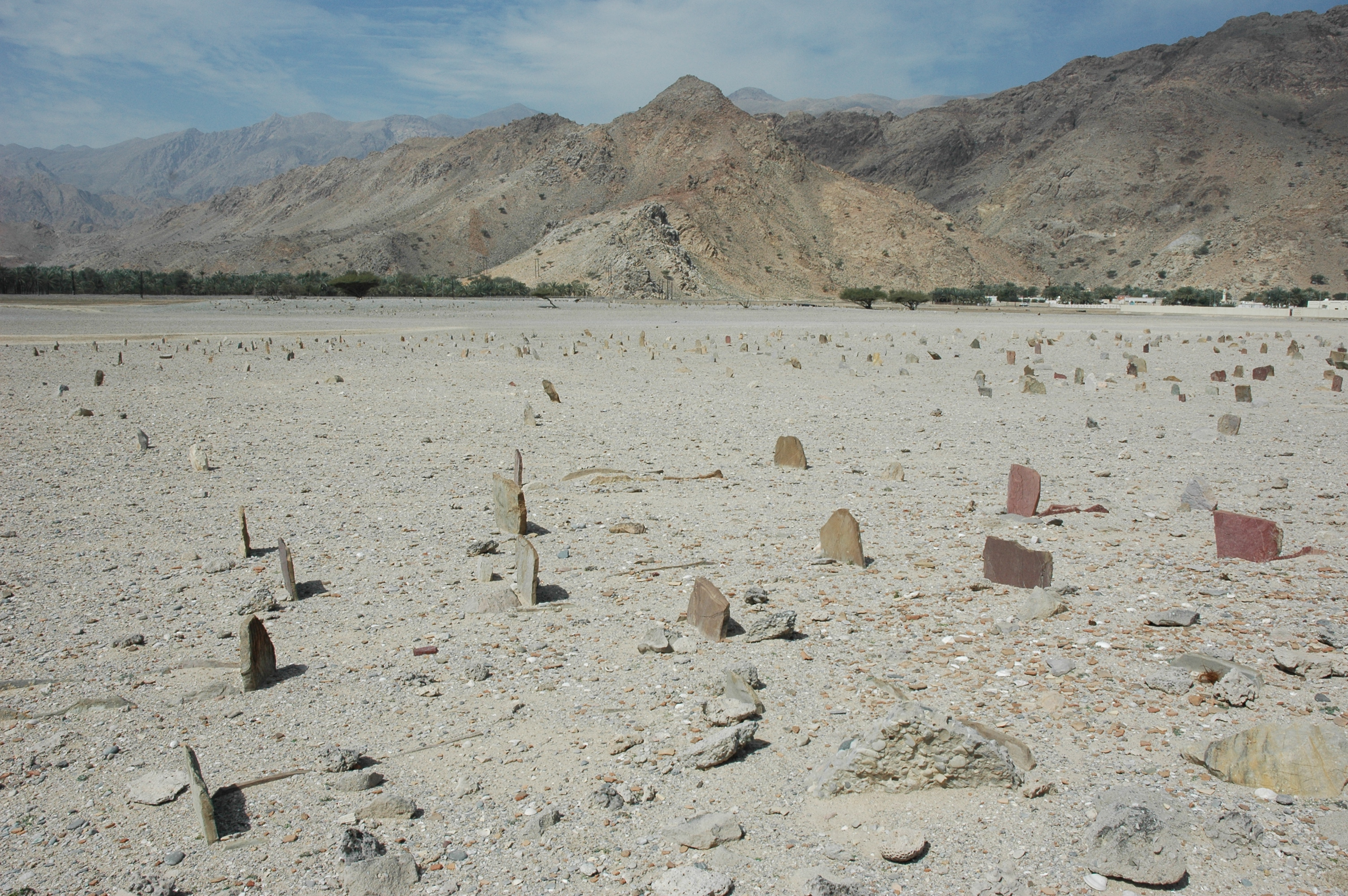 Makbarat al Sahabi, a disputed heritage site, looking northwest, near Dibba on the poorly defined border between the United Arab Emirates and Oman,  22 February, 2007,  photograph by Gordon Brent Ingram
