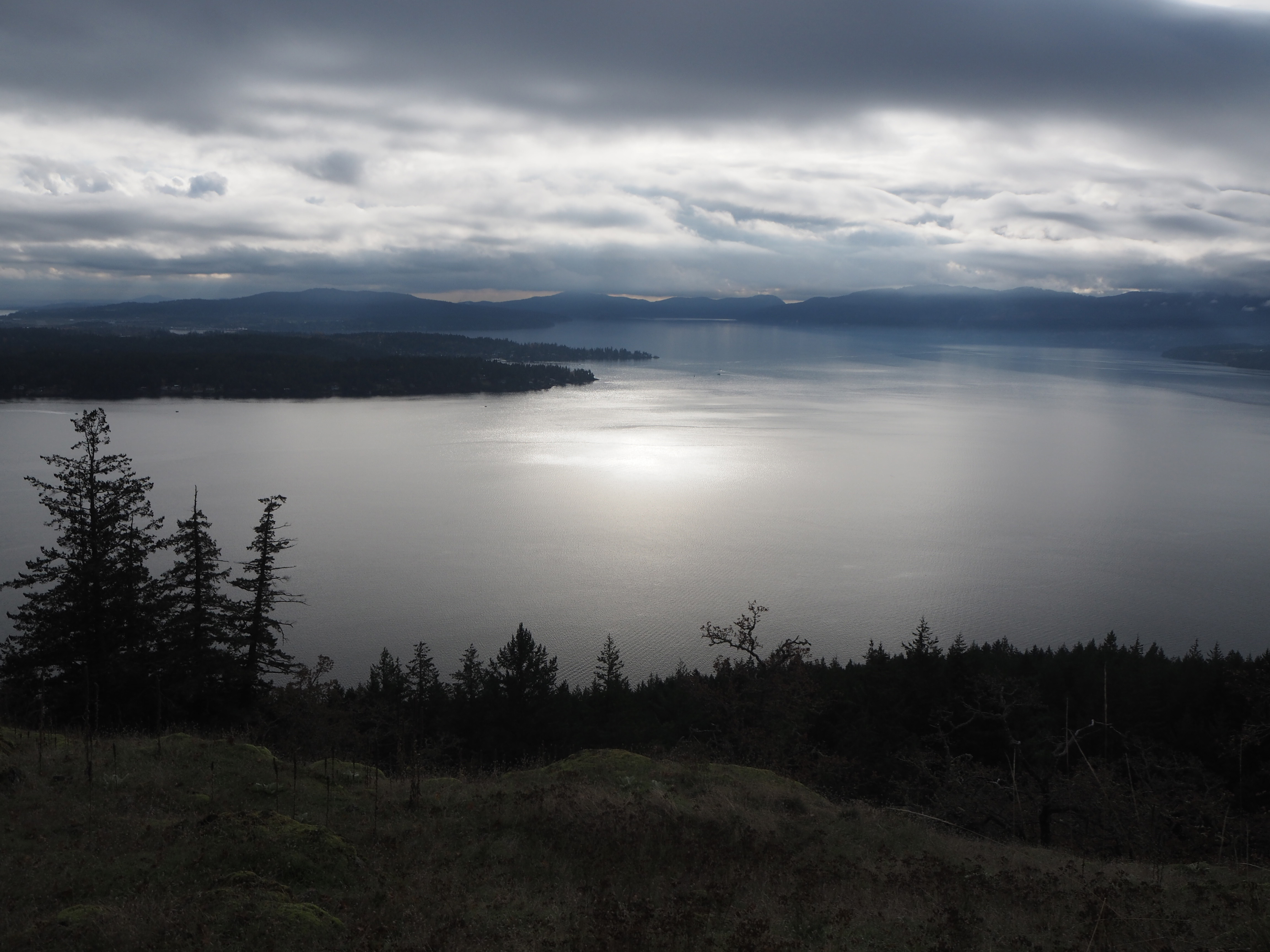 2020 November 11 view of Saanich Inlet and Vancouver Island from S,?UÁN with light-shining-on-water a symbol of the divine for many indigenous West Coast cultures