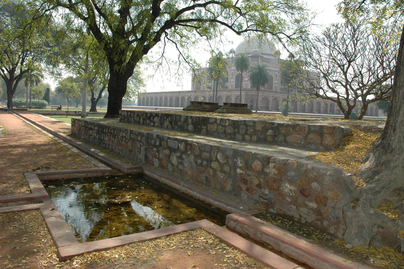 Humayun's Tomb from a trough and pool in the adjacent charbagh, New Delhi, 28 March, 2007 photograph by Gordon Brent Ingram