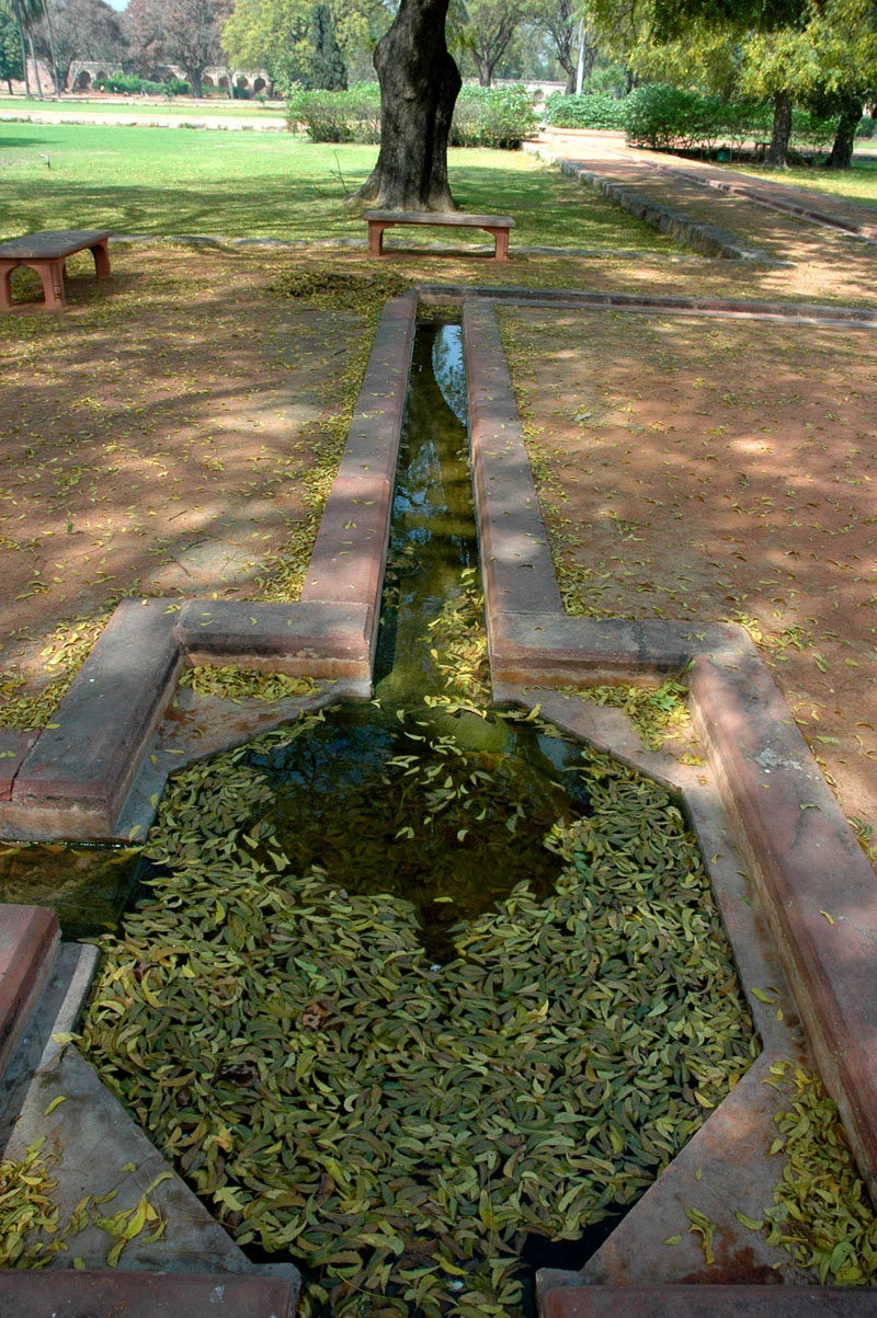 Pool and trough for using, conserving and recycling water in cooling the gardens of the Humayun's Tomb complex, New Delhi, 28 March, 2007, photograph by Gordon Brent Ingram
