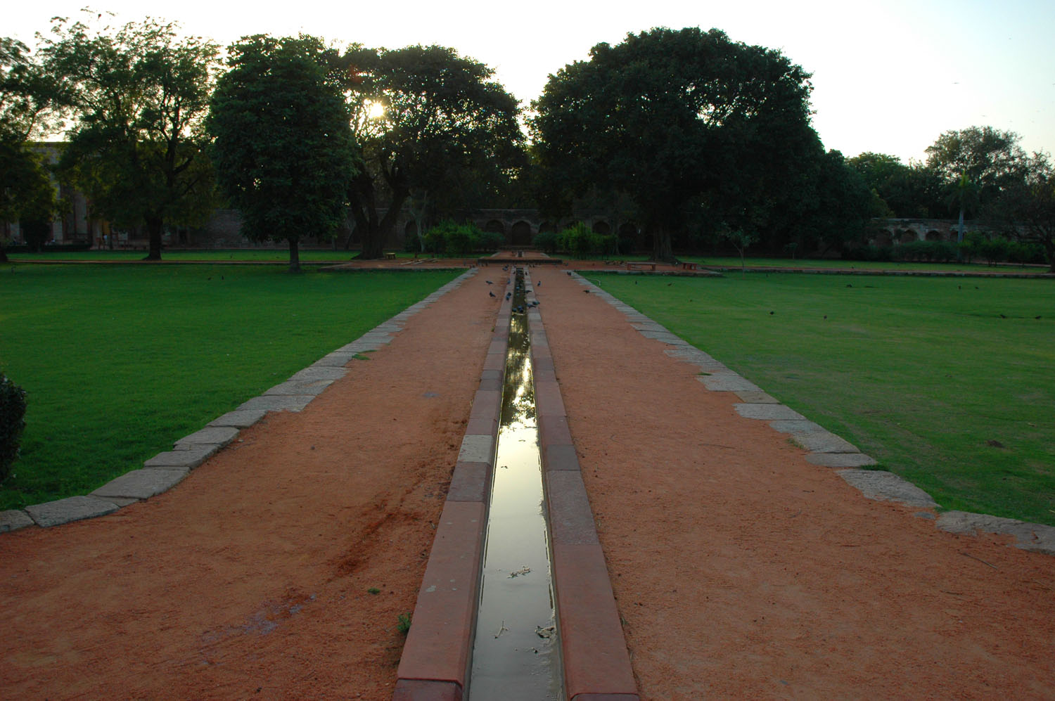 Dusk in the charbagh adjacent to Humayun's Tomb, New Delhi, 5 March, 2007, photograph by Gordon Brent Ingram