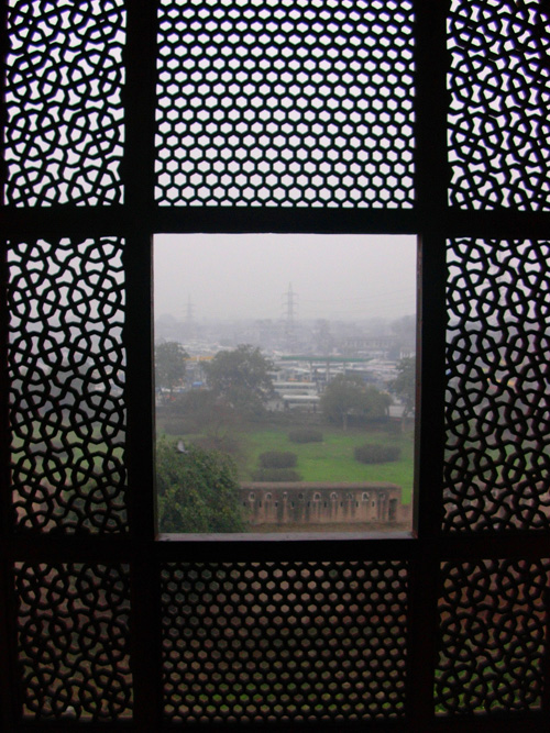 View of open space in Lahore, Pakistan from jaali in Noulakha Pavilion, Lahore Fort, 21 January, 2004, photograph by Gordon Brent Ingram