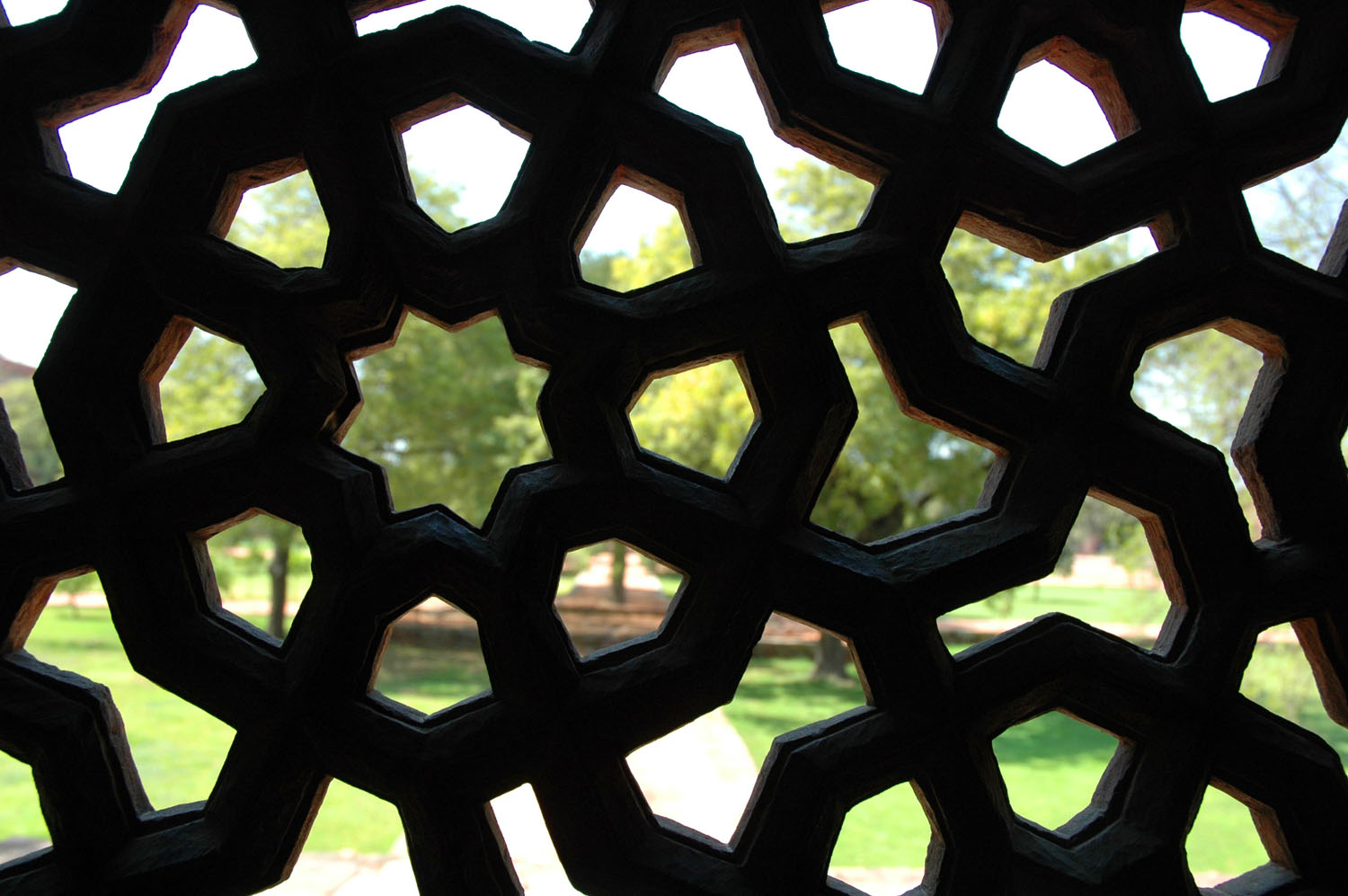 Looking through jaali into the charbagh in the Humayun's Tomb complex, New Delhi, 16 March, 2007, photograph by Gordon Brent Ingram