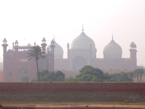 Palms (associated with drier climates) in the garden near Badshahi Mosque viewed from Lahore Fort, Lahore, Pakistan, 15 January 2004, photograph by Gordon Brent Ingram