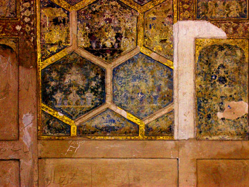 Unrestored wall in the early phases of the renovation of the Shish Mahal, Lahore Fort, Pakistan, 16 January, 2004 photograph by Gordon Brent Ingram