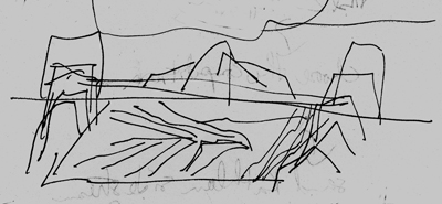 Valley landscape as part of Salish \'bowl\' cosmology, central Vancouver, drawing by Gordon Brent Ingram